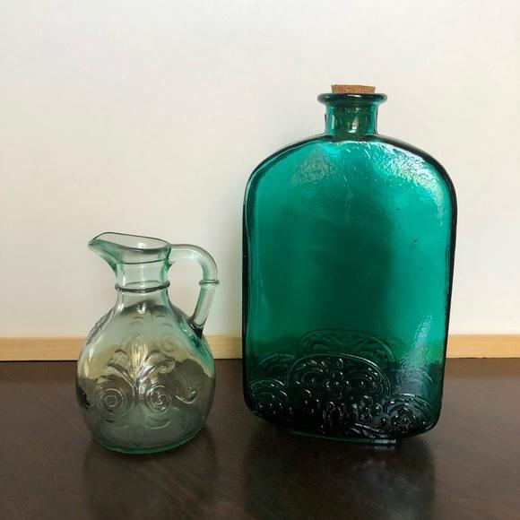Vintage Blue Glass Jars // Bundle of Two